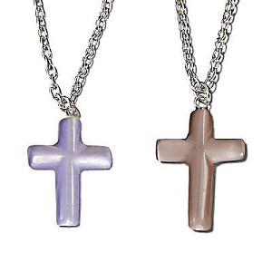 Cat's Eye Carved Crosses On Chains in assorted colors