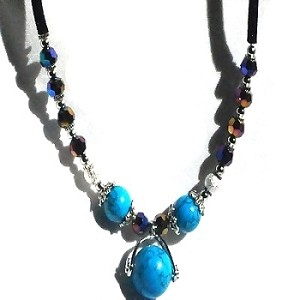 Black Wool Cord Necklace with Simulated Turquoise, Faceted Glass & Silver Beads