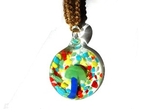 Blue Mushroom in Round Glass Psychedelic Background Hemp Necklace