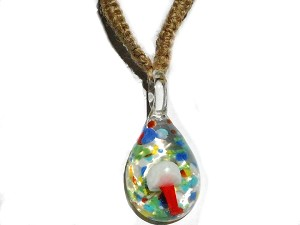 Red-Orange Mushroom in Psychedelic Glass with Hemp Necklace