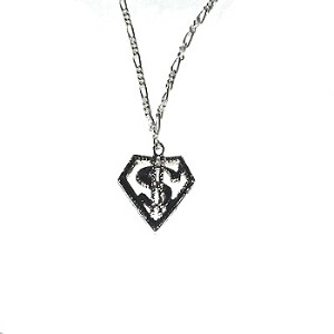 Silvertone Hip Hop Dollar Sign $ Pendant on Figaro Neck Chain