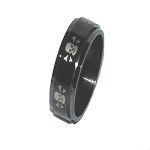 316L Stainless Steel 8mm Skull & Cross Bones Spinner Ring