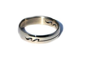 316L Stainless Steel Cut Out Wave Line Band Ring 5mm Wide