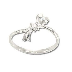 Sterling Silver Heart and Bow Ring
