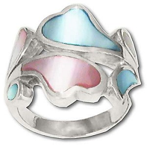 925 Sterling Silver Pink and Blue Mother Of Pearl Heart Wave Ring