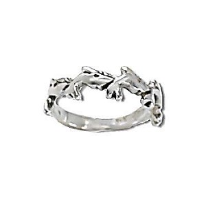 Sterling Silver Dolphin Row Ring