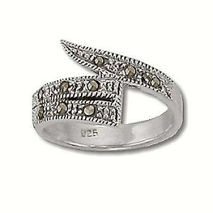 Sterling Silver 9 Genuine Marcasite Stone Tail Ring