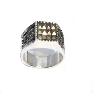 Sterling Silver  Genuine 18 Marcasite Block Ring With Accents