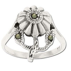 Sterling Silver Genuine Marcasite Stone Flower Ring