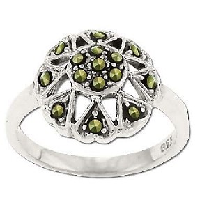 Sterling Silver  GENUINE 15 MARCASITE FLOWER RING