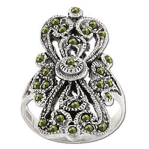 Sterling Silver Genuine 28 Marcasite Filigree Ring