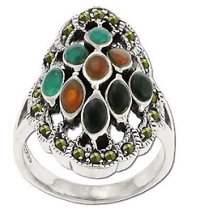 Sterling Silver Genuine Marcasite Nine Stone Center Ring