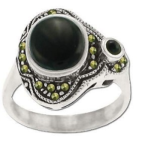 Sterling Silver Genuine Marcasite and Onyx Asymmetric Ring