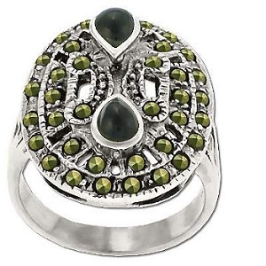 Sterling Silver Genuine 38 Marcasite and Onyx Teardrop Ring