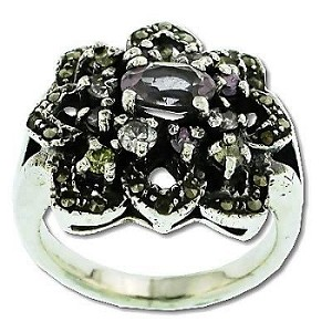 Sterling Silver 24 Marcasite 13 Amethyst Flower Ring