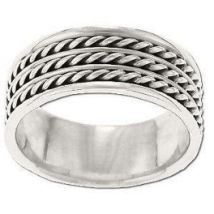 Sterling Silver Stacked Rope Band Ring