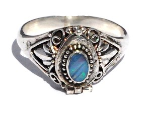 Sterling Silver Bali  Opal Doublet Gemstone Poison Ring