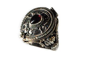 Sterling Silver Tear Drop Poison Ring with Genuine Garnet