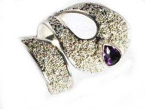Sterling Silver Adjustable Sparkling Cocktail Ring with Amethyst CZ