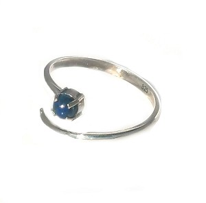 925 Sterling Silver spiral Ring with round Blue Lapis