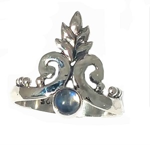 New 925 Sterling Silver Balinese Rainbow Moonstone Ring with Blooming Flower Crown