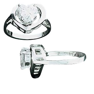 Sterling Silver Heart CZ Cubic Zirconia With Open Heart Surround Ring