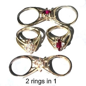 Sterling Silver CZ Cubic Zirconia 2 In 1 Reversible Flip Rings