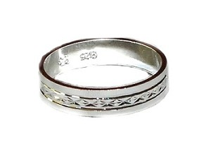 Sterling Silver 925 Band Rings with carved etchings