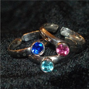 Sterling Silver round Cubic Zirconia adjustable rings